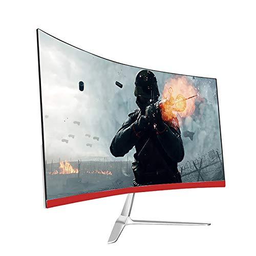 Gaming PC Monitore IPS 2800R Gebogen 24 Zoll FHD 1920X1080 Computerbildschirm LED Hintergrundbeleuchtung 75 Hz Ultradünne 16: 9 Rahmenlose 1-Ms-Antwort (HDMI- Und VGA-Anschluss),Rot