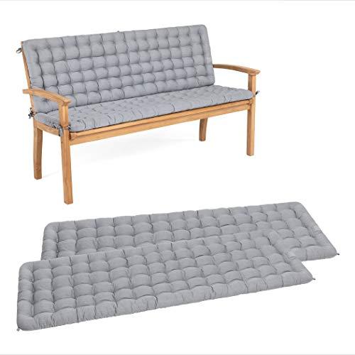 HAVE A SEAT Luxury – Juego de cojines de asiento con respaldo para banco de jardín, cómodo cojín lavable hasta 95 °C, fácil de limpiar, fabricado en Alemania (120 x 48 cm, gris claro)
