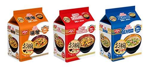 日清 お椀で食べる袋めん 詰め合わせ 3種類各2袋 1箱:6袋 ナポリタン 1p (カップヌードル・カップヌードルシーフード・カップヌードル味噌
