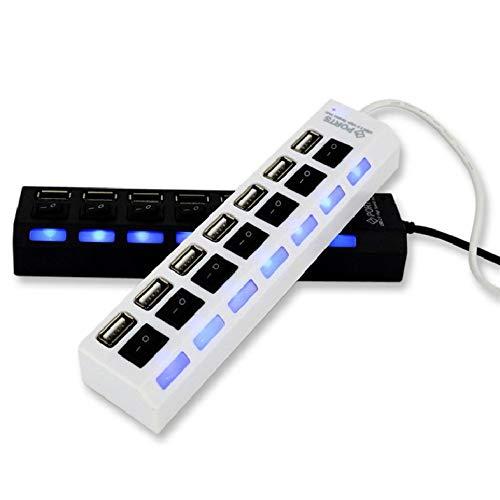 7 Puertos USB Powered Hub para Mac Extensor de Puerto múltiple para Macbook Surface Pro con Puerto de Carga rápida con Interruptor Independiente - Blanco, Negro