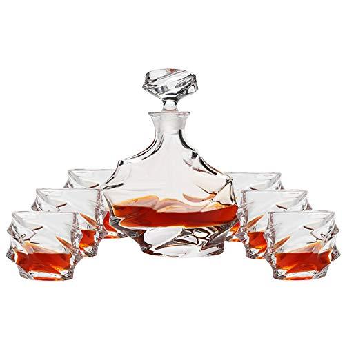 YUKM 7-Teiliger Whisky Dekanter Set, Kristall Whiskyglas Set Herren Geschenk, Premium-Alkohol Dekanter Mit 6 Exquisiten Cocktailgläsern Für Rum, Scotch Oder Bourbon