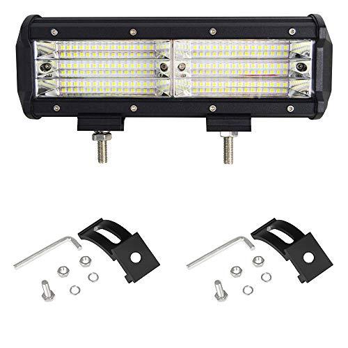 Willpower 9 pulgadas 270W Barra de luces LED Luces de inundación de tres hileras Luces LED de conducción Offroad Faros antiniebla para camiones Camioneta SUV ATV UTV Barco, 2 años de garantía