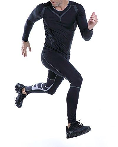AMZSPORT Herren Fitness Hose Pro Cool Compression Tights Funktionswäsche Pants, S, Schwarz - 6