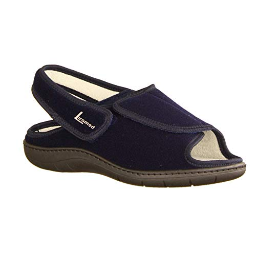 LIROMED Herren Hausschuhe 475-20Z2 Marine (blau) - sportliche Sandale - VERBANDSCHUHE, Blau blau 221381