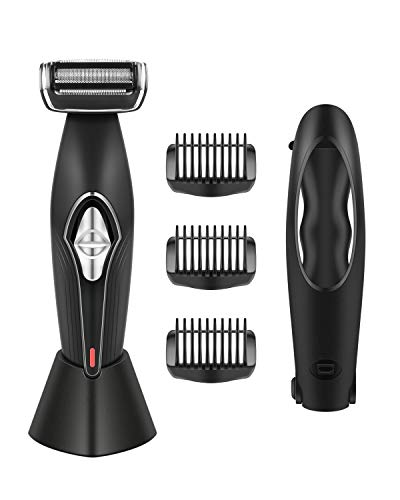 Body Groomer for Men SUPRENT Back Shavers for Men with 35cm Handle, Showerproof Dual-sided Shave Wet or Dry, 4D Pivoting Head with Charging Dock Design