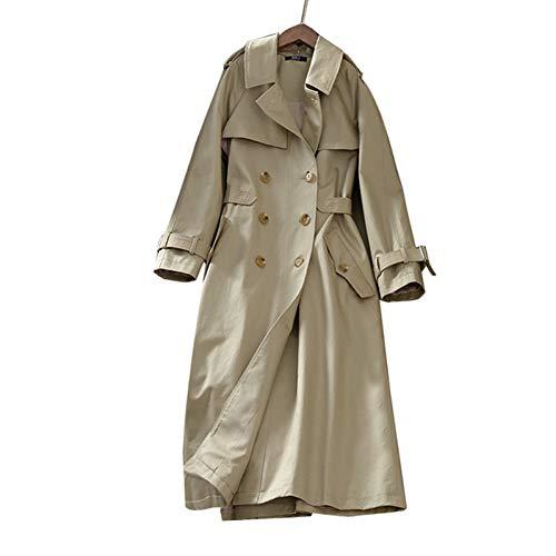 ZLYHXYR Mantel Damen Bluse Elegant Herbst Winter Trenchcoat Jacke/Langer Frauen Trenchcoat Oversize Khaki Zweireihige Outwear Lose Kleidung Parka Coat
