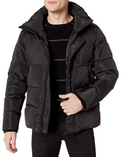 Vince Camuto Men's Hooded Down Puffer Jacket, Black, Large