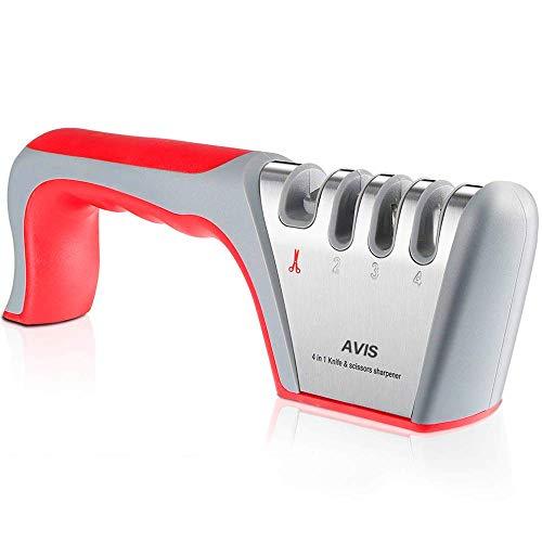 AVIS Manuelle Messerschärfer Messerschleifer, Messerschleifer 4 Stufen Messerschaerfer Profi, Wolframstahl für Scheren und Grobschärfen,Diamant für Feinschärfen,Spezialkeramik für Präzisionsschärfen