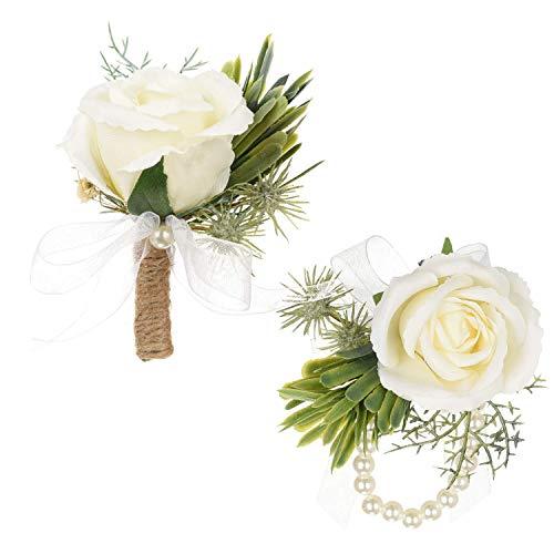 YQing 2 Stück Rose Boutonniere Bräutigam Hochzeit, Boutonniere blumenarmband Hochzeitsanstecker Brosche Blume für Bräutigam Braut Brautjungfer Gäste Herren Damen Tanzparty