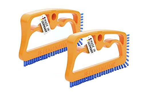 2 cepillos Fuginator para azulejos naranja/azul. Innovador para limpieza de juntas, juntas de baño, cocina, elimina el moho superficialmente (2)