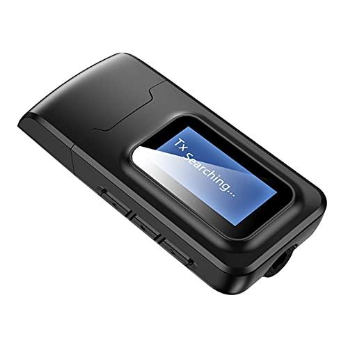 WFBD-CN Adaptador de Coche Bluetooth Receptor y transmisor de 5.0 actualizado 5.0 LCD Mostrar 3.5mm AUX USB Adaptador de Audio inalámbrico estéreo para TV DE PC Auriculares Transmisor Bluetooth