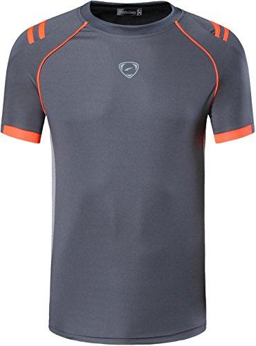 jeansian Herren Sportswear Quick Dry Short Sleeve T-Shirt LSL2003_Gray L