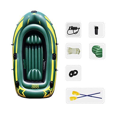 WNN 3-Kayak Persona Flotador Bomba de Aire de Agua de PVC Material de Canoa Inflable Juego de Pesca con los remos (Verde del ejército) URG