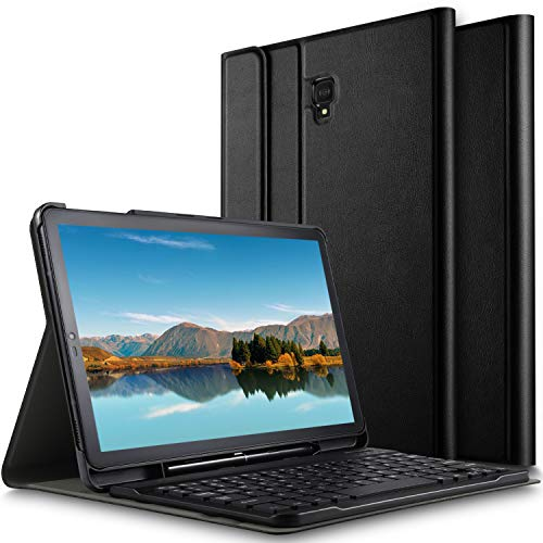 ELTD Tastatur Hülle für Samsung Galaxy Tab S4 10.5,(Deutsches QWERTZ-Layout),Standfunktion Hülle mit Abnehmbar Kabellose Tastatur für Samsung Galaxy Tab S4 T830/T835 10.5 Zoll 2018 (Schwarz)