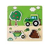 Lena 32164Tractor en la Madera Natural Puzzle, Multicolor, Aprox. 14x 2,5x 18cm