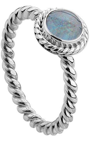 Nenalina Damen Ring Silberring besetzt mit 6 mm farbenprächtiger Opal-Triplette Edelstein, handgearbeitet aus 925 Sterling Silber, Gr. 54-212999-032-54