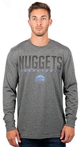 Ultra Game NBA Denver Nuggets Mens Active Long Sleeve Tee Shirt, Heather Charcoal, Medium