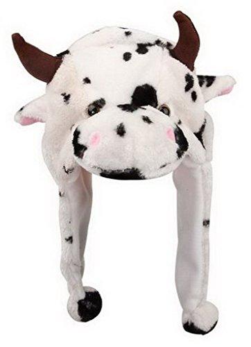 Bigood Liebe Plush Animal hat Winter Cosplay Plush Hat Plüsch Mütze One Size Kuh Weiss