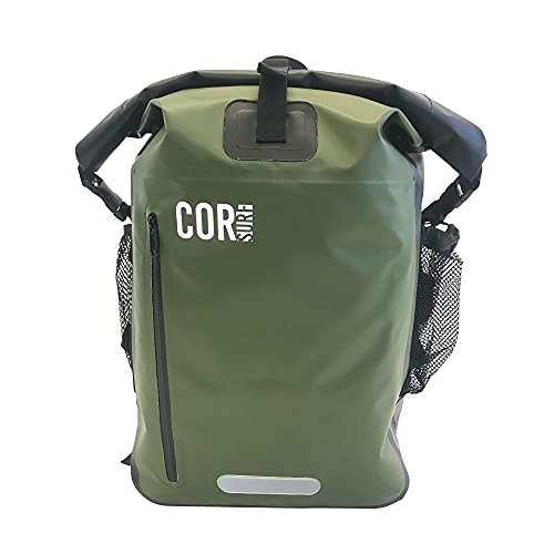 Cor Surf Waterproof Dry Bag Backpack 25L and 40L with Padded Laptop Sleeve (40L, Green)