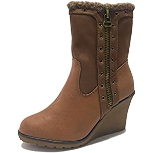 Womens Ladies Wedge Ankle Mid High Block Slouch Faux Leather Fleece Boots Zip Up Slip Pull On Autumn Winter Shoes Wedges Brown Size 3 4 5 6 7 8 9 (UK 6):Comoparardefumar