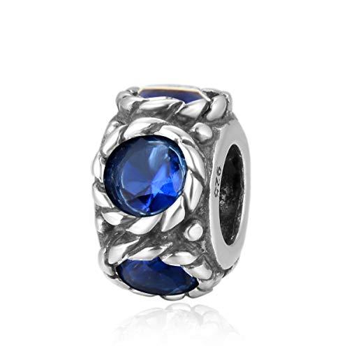 Flower Design Sterling Silver September Birthstone Charm Bead Sapphire Blue Swarovski Crystal Fit All Charm Bracelet Necklace Women Gift Compatible with Pandora EC585