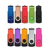 USB Sticks 8GB 10 Stück, AreTop Speicherstick Rotate Metall High Speed USB 2.0 Flash Drive (10 Farben)