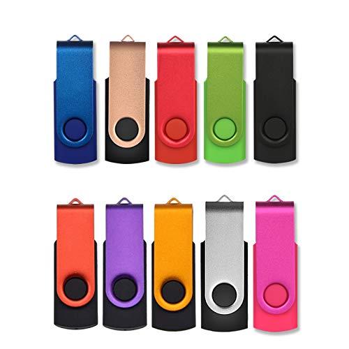 USB Sticks 4GB 10 Stück, AreTop Speicherstick 4GB Rotate Metall High Speed USB 2.0 Flash Drive (10 Farben)