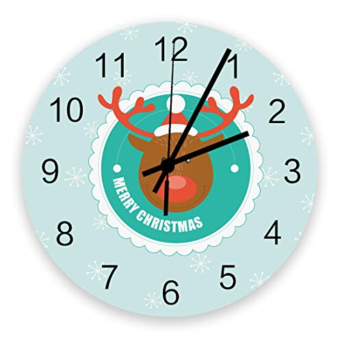 Winter Holiday Wall Clock Vintage Round Silent Non Ticking Battery Operated Accurate Arabic Numerals Design Home Decorative for Kitchen Living Room Bedroom Office Cute Reindeer Head with Snowflakes