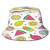 RUEMAT Sombrero Pescador Unisex,Postre de Frutas Tropicales Coloridas de Patrones sin Fisuras,Plegable Sombrero de Pesca Aire Libre Sombrero Bucket Hat para Excursionismo Cámping De Viaje Pescar