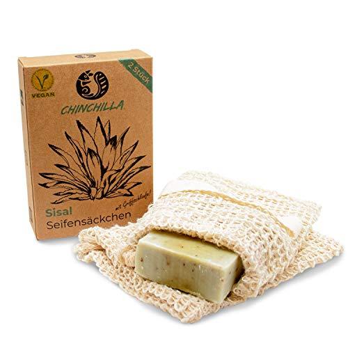 Chinchilla® 2er-Pack Seifensäckchen Sisal | Natur Seifennetz | Bad & Dusche | Seifenbeutel für festes Shampoo & Seifenreste | Peeling Effekt