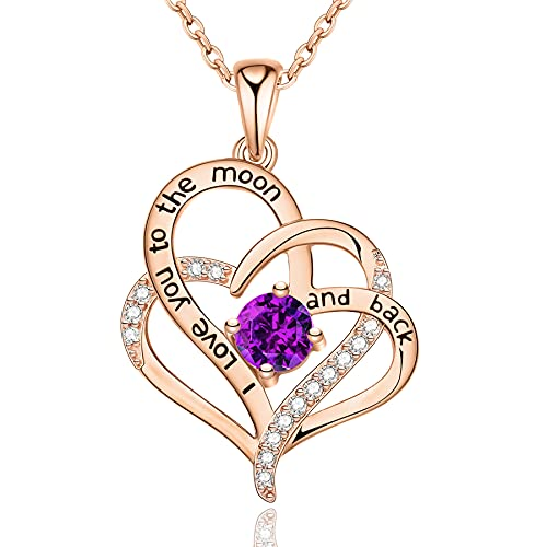 I Love You Gifts for Her, Heart Sterling Silver Birthstone Necklaces...