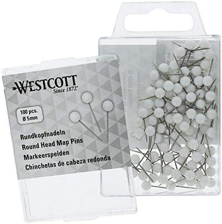 100 pezzi diametro 5 mm Spilli a testa tonda Westcott E-10501 00 lunghezza 16 mm colore: Bianco