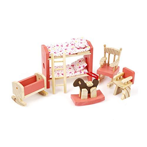 POPETPOP Mini Casa de Muñecas Conjunto de Muebles de Casa de Madera Muebles en Miniatura Modelo de Juguete Juego de Niños Casa de Juguete