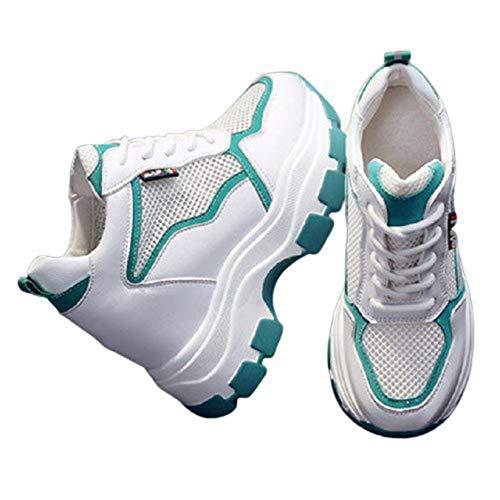 Zapatillas de Plataforma para Mujer Transpirables Antideslizantes Ligeras con Cordones Zapatos Casuales para Mujer para Caminar con tacón Oculto Zapatillas de cuña
