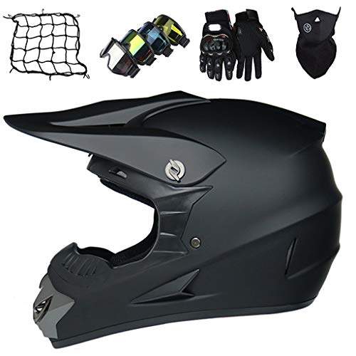 Casco de Motocicleta de Integrales, Casco de Motocross Adultos para Moto Downhill Quad Bike Enduro Scooter Off-road, Casco de Cross Niños con Gafas/Guantes/Máscara/Red eLástica - Negro Mate