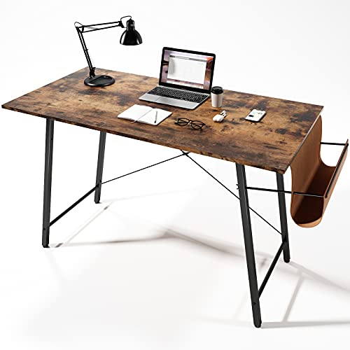 Computer Desk 47 inch Home Office Desks for Work Study Writing Modern Simple Style Laptop Table with Storage Bag Black Metal Frame Rustic Brown