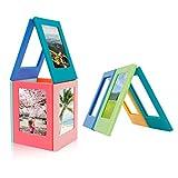 MOMSIV Marco de fotos magnético 10 piezas Mini marco de fotos con imán DIY colorido para sujetar fotos de 3 pulgadas álbum de fotos pegatina para nevera