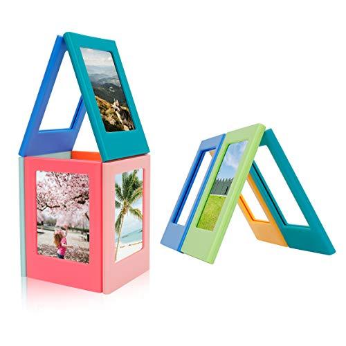 MOMSIV Magnetischer Fotorahmen, 10 Stück, bunt, zum Selbermachen, Polaroid-Magnet-Bilderrahmen für 7,6 cm Fotos, Fotoalbum, Kühlschrankaufkleber
