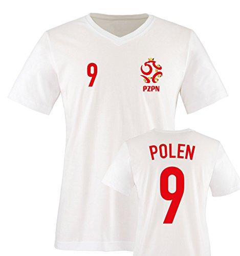 EM 2016 - Trikot - EM 2016 - Polen - 9 - Herren V-Neck T-Shirt - Weiss/Rot-Gold Gr. XL