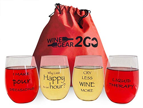 4 Wine Glasses Unbreakable Travel Bag & Box included-Great Gift Food Grade Plastic Funny and Durable Shatterproof Stemless Great for Wine Beer Cocktail any Beverage Outdoor Pool Beach (Clear)