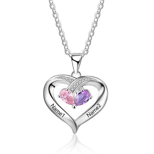 Personalisierte Sterling Silber Halsketten mit Herzanhänger 2 Simulierte Birthstone Halskette Echt Silber Gravur für Frauen halskette für mama mit gravur