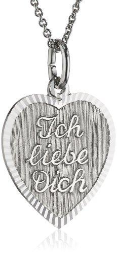 Xaana Dames-hanger met hartje Ich liebe Dich incl. Ketting 42-45 cm 925 sterling zilver gerhodineerd AMZ0236