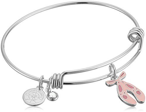 Alex and Ani Halos & Glories, Ballet Shoes Shiny Silver Bangle Bracelet