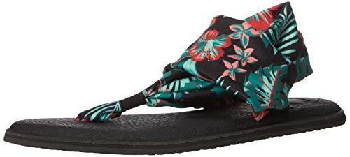Sanuk Women's Yoga Sling 2 Floral Sandal, Black, 5