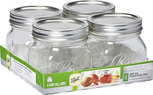 4 Ball Moderne Marmeladengläser mit Deckel & weiter Öffnung, 490 ml, luftdicht