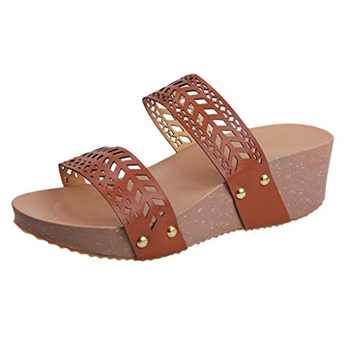 BALABAWomen Fashion Summer Wedges Slippers Sandals Shoes Peep Toe Slides Hollow Carved Beach Leisure Slipper Flip-Flops Brown