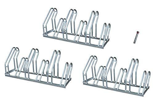 Aparcabicicletas soporte para aparca Bicicleta suelo Aparcamiento de bicicletas garaje Parking de 6 Bicis acero galvanizado (3- Aparcabicicletas + T)