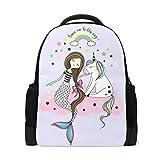QMIN Mochila con diseño de unicornio arcoíris y estrella de sirena, para la escuela, para viajes, universidad, senderismo, camping, bolsa de hombro, organizador para niños, niñas, mujeres y hombres
