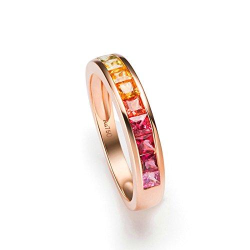 Dolove oro rosa 18K anelli per le donne anello di fidanzamento 1ct Princess Cut acquamarina anello oro anello i 1/2-T 1/2 e 18ct rosa oro, 17,5, colore: Rose Gold, cod. LMY90GZZBRST1297