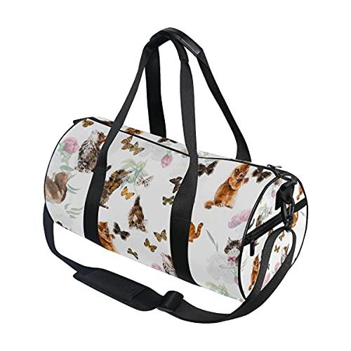Carino gatto gattino con farfalla viaggio borsone sport palestra bagagli borsa per uomini donne